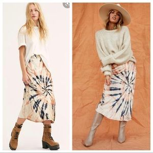 NWT Free People Serious Swagger Tie Dye Skirt, XL
